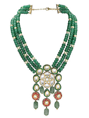 Green Red Gold Tone Kundan Necklace