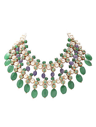 Green Purple Gold Tone Necklace with Pearls