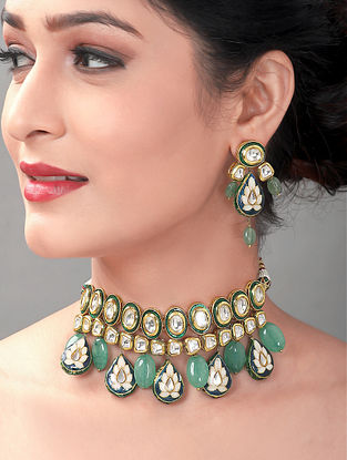 Green Blue Gold Tone Enameled Kundan Necklace with Earrings (Set of 2)