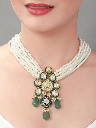 Blue Green Gold Tone Pearl Beaded Necklace