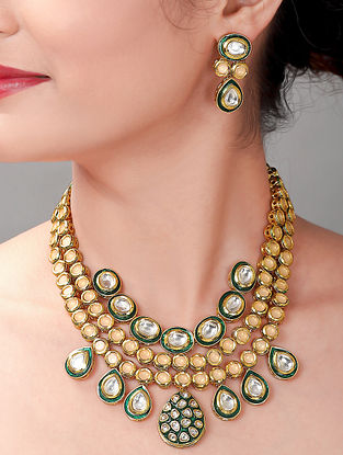 Green Cream Gold Tone Kundan Necklace with Earrings (Set of 2)