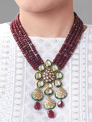 Maroon Green Gold Tone Kundan Necklace