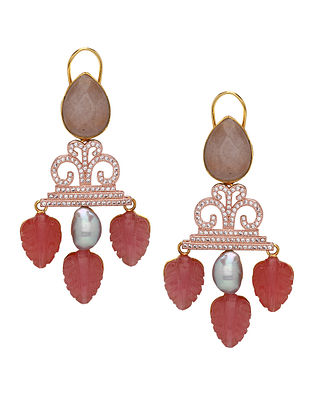 Red Brown Gold Tone Earrings with Pearls