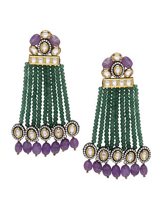 Purpe Green Gold Tone Earrings