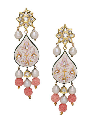 Red Pink Enameled Kundan Earrings with Pearls