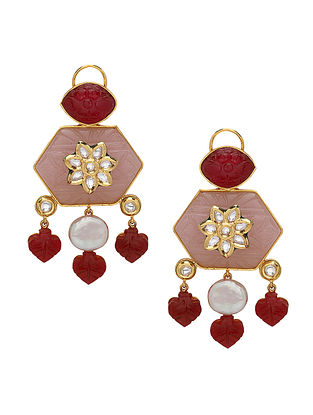 Maroon Pink Gold Tone Earrings with Pearls