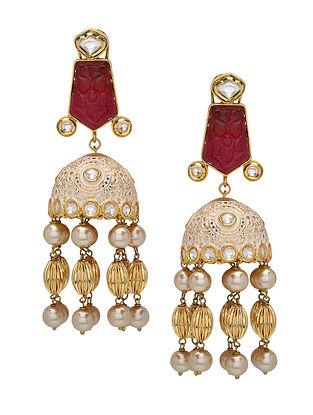 Maroon Gold Tone Kundan and Meenakari Earrings with Pearls