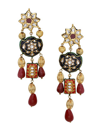 Maroon Black Gold Tone Kundan Meenakari Earrings