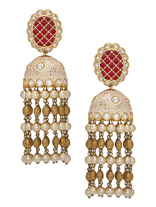 Red Gold Tone Enameled Jhumki Earrings with Pearls