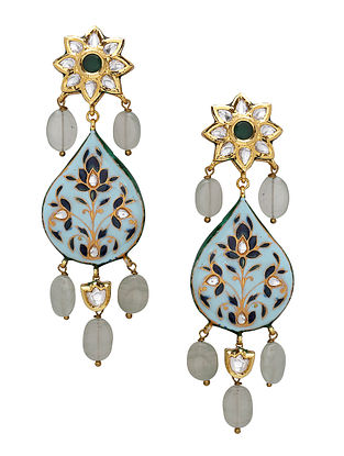 Multicolored Gold Tone Kundan Enameled Earrings