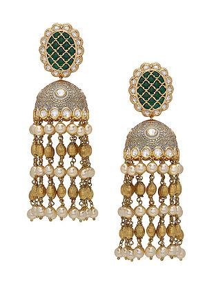 Green Grey Gold Tone Enameled Jhumki Earrings with Pearls