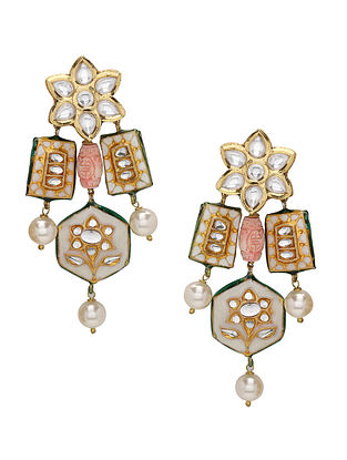 White Red Gold Tone Enameled Kundan Earrings with Pearls