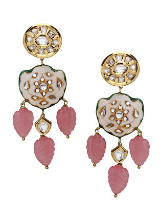 Red White Enameled Kundan Earrings