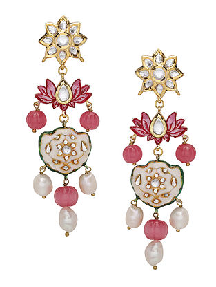 Red White Enameled Kundan Earrings with Pearls