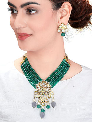 Purple Green Gold Tone Kundan Necklace with Earrings (Set of 2)