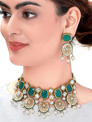 Green White Gold Tone Kundan Enameled Necklace with Earrings (Set of 2)