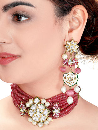 Red White Gold Tone Kundan Enameled Necklace with Earrings (Set of 2)