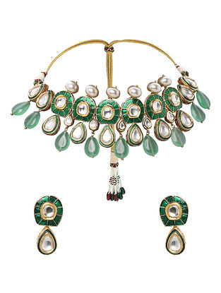 Green Gold Tone Enameled Kundan Necklace with Earrings (Set of 2)