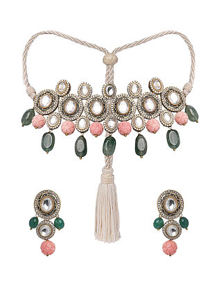 Green Pink Gold Tone Kundan Necklace with Earrings (Set of 2)