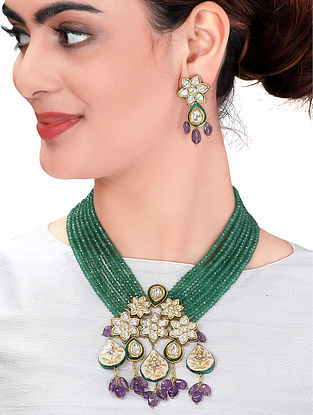 Purple Green Gold Tone Enameled Kundan Necklace with Earrings (Set of 2)