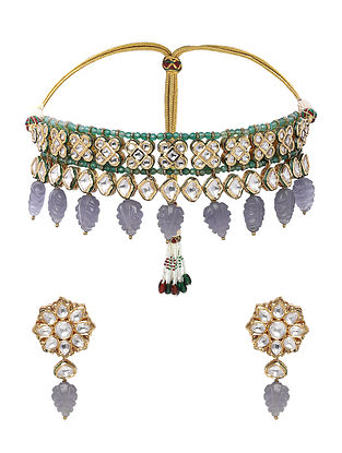 Grey Green Gold Tone Kundan Necklace with Earrings (Set of 2)