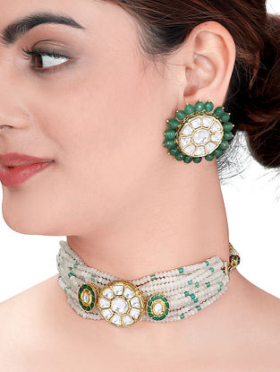 Green White Gold Tone Kundan Necklace with Earrings (Set of 2)