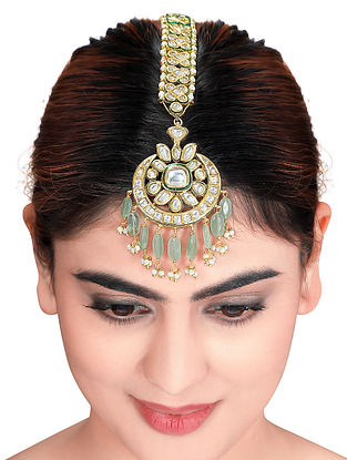 Green Gold Tone Kundan Maang Tikka with Pearls