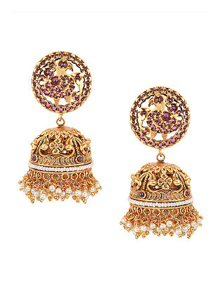 Pink Gold Tone Earrings with Pearls