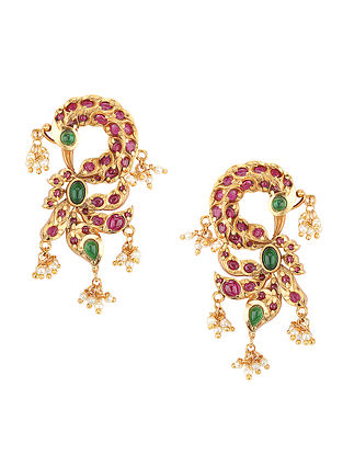 Pink Green Gold Tone Earrings with Pearls
