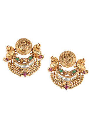 Green Pink Gold Tone Handcrafted Earrings