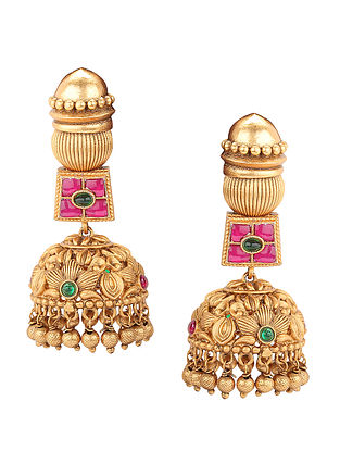 Pink Green Gold Tone Handcrafted Earrings