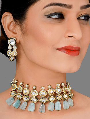 Blue Gold Tone Kundan Enameled Necklace with Earrings (Set of 2)