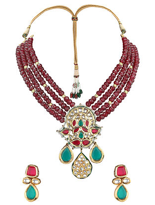 Multicolored Gold Tone Necklace with Earrings (Set of 2)
