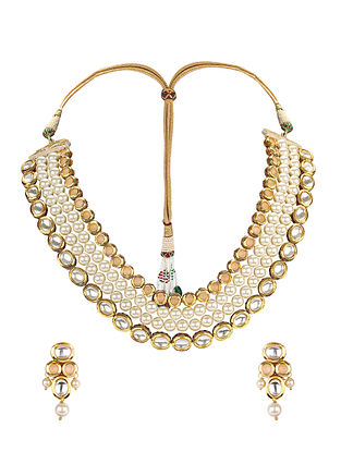 Peach Gold Tone Kundan Necklace with Earrings (Set of 2)