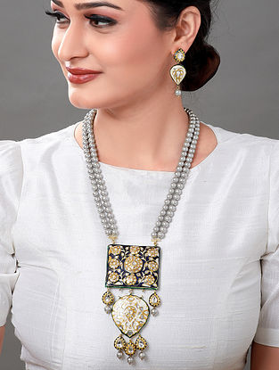 Blue Grey Gold Tone Kundan Enameled Necklace with Earrings (Set of 2)