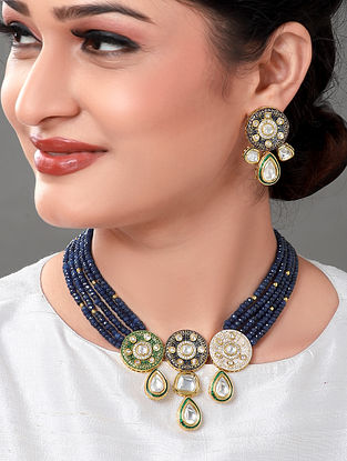 Blue Green Kundan Enameled Necklace with Earrings (Set of 2)