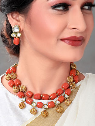 Brown Gold Tone Necklace with Earrings (Set of 2)