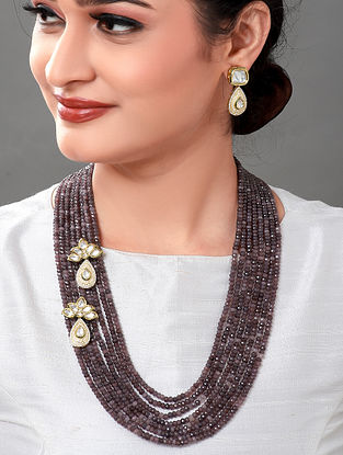 Grey Gold Tone Kundan Necklace with Earrings (Set of 2)