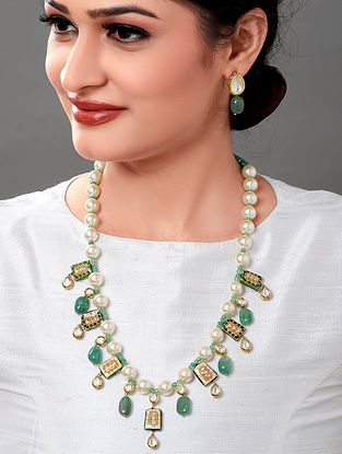 Green White Gold Tone Necklace with Earrings (Set of 2)