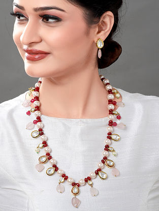 Maroon Gold Tone Kundan Beaded Necklace with Earrings (Set of 2)