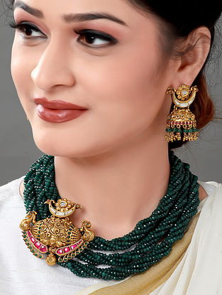 Green Gold Tone Beaded Necklace with Earrings (Set of 2)