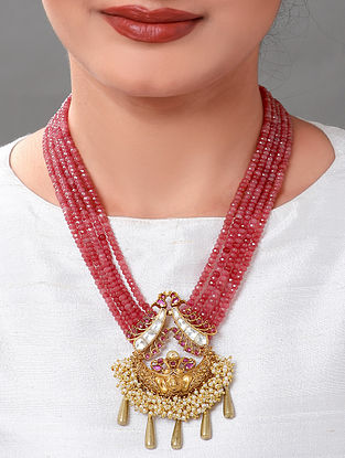Pink Gold Tone Beaded Necklace