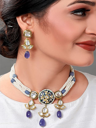 Blue white Gold Tone Kundan Beaded Necklace with Earrings (Set of 2)