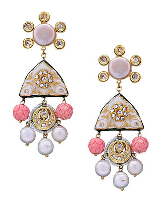 Pink White Gold Tone Kundan Enameled Earrings with Pearls