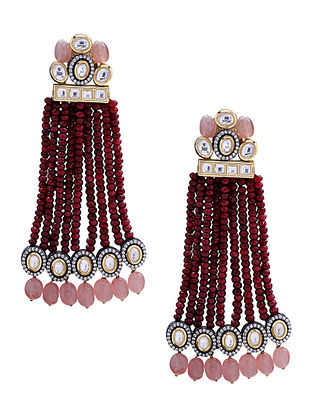 Maroon Pink Gold Tone Kundan Earrings