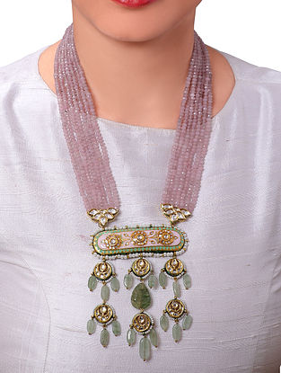 Purple Green Gold Tone Kundan Enameled Beaded Necklace