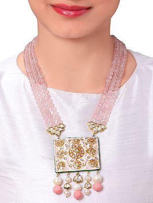 Pink Gold Tone Kundan Beaded Enameled Necklace