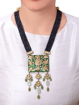 Black Green Gold Tone Kundan Beaded Enameled Necklace