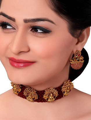Maroon Gold Tone Handcrafted Necklace with Earrings