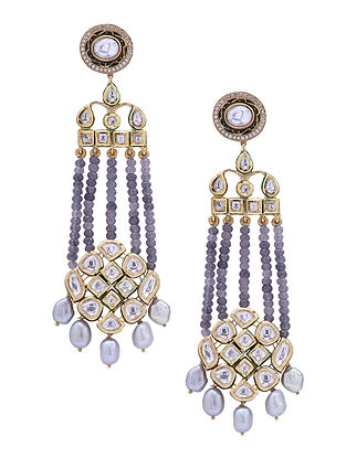 Grey Gold Tone Kundan Earrings